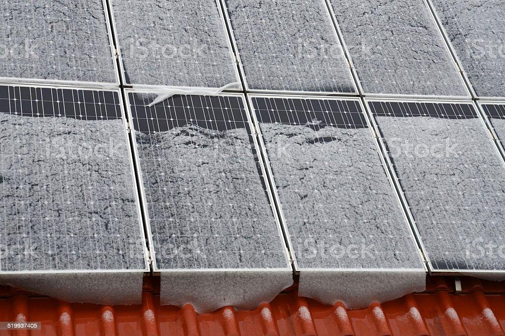 Photovoltaikanlage im Winter stock photo