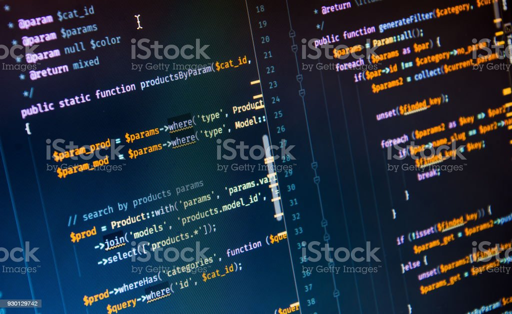 Php code on blue background in code editor stock photo