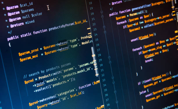 Php code on blue background in code editor Php code on blue background in code editor, close-up. php programming language stock pictures, royalty-free photos & images