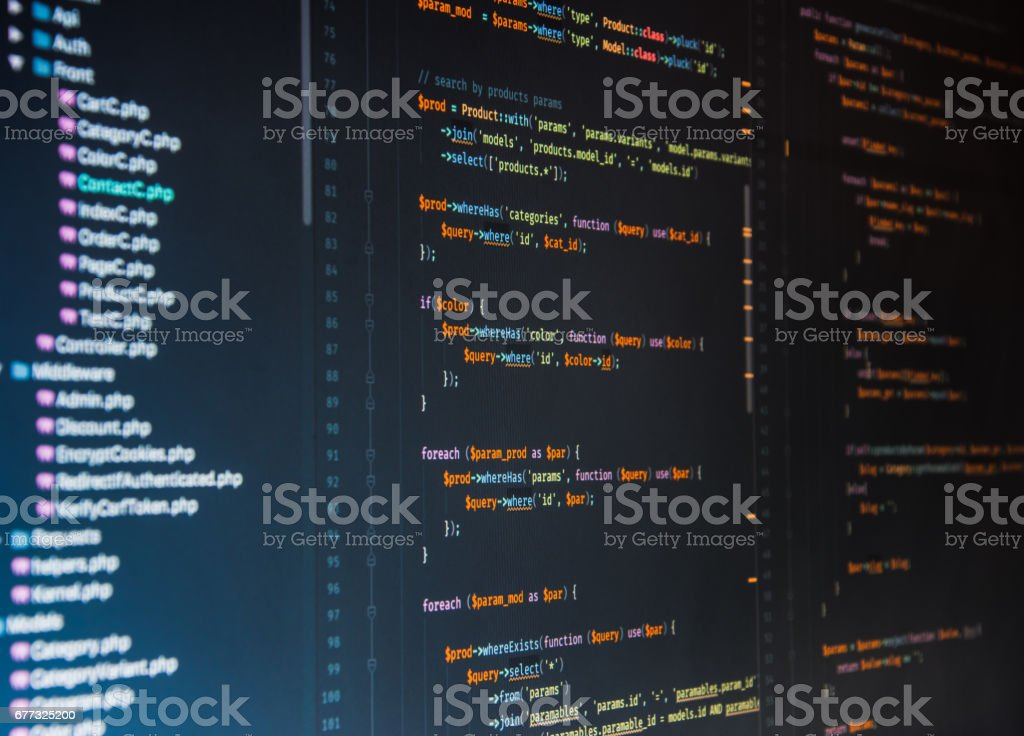 Php code on dark background in code editor royalty-free stock photo