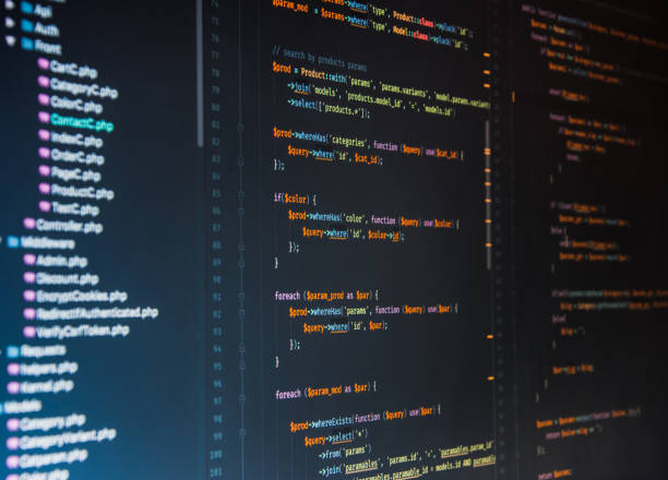 Php code on dark background in code editor stock photo