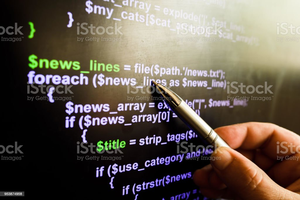 php or html code stock photo