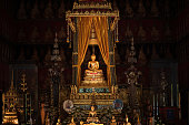 Bangkok, Thailand - Jan 25, 2018: Phra Buddha Sihing in the Phutthai Sawan Chapel of the National Museum. It  is highly venerated in Thailand, being regarded as second importance only to the Emerald Buddha.
