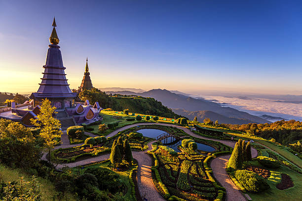 Phra Maha Dhatu Nabha Metaneedol,Pagoda at Doi Inthanon Phra Maha Dhatu Nabha Metaneedol,Pagoda at Doi Inthanon National Park, Thailand. chiang mai province stock pictures, royalty-free photos & images