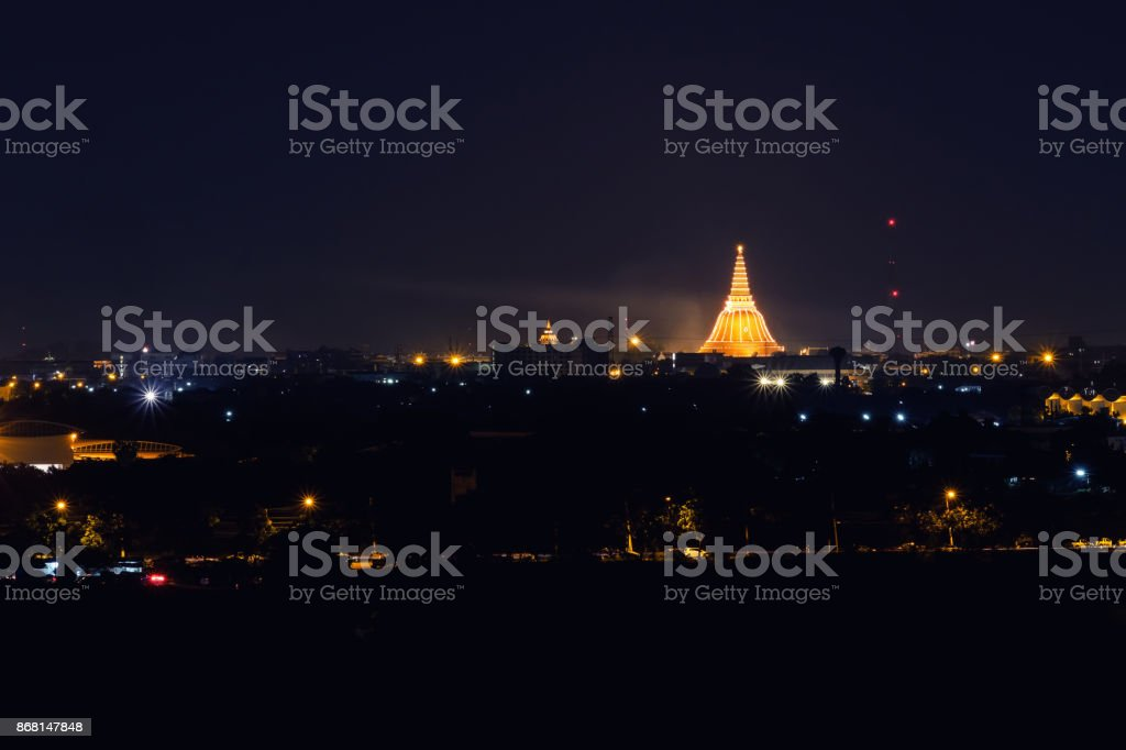 Phra Pathom Chedi Sanctuary is a vital part of Thailand. beautiful lighting background stock photo
