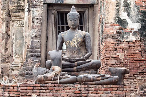Phra Prang Sam Yot, The city of monkey in Thailand. stock photo