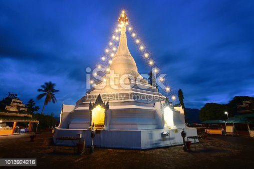 Phra That Doi Kong Mu Pagoda in twilight time. It is a beautiful place and a major tourist attraction of Mae Hong Son, Thailand.
