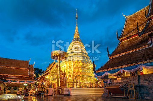 Phra That Doi Suthep Temple, Golden Buddhism Pagoda in Chiang Mai Province, Thailand
