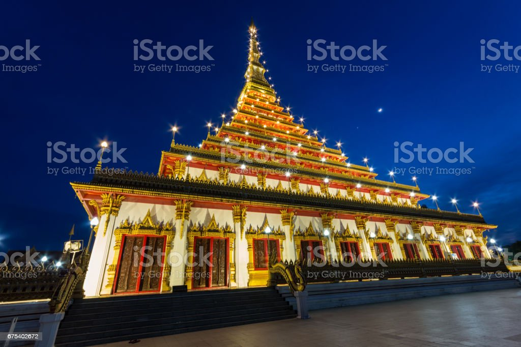 Phra-Mahathat-Kaen-Nakhon Temple in Thailand.Have a 9 floors and 80 meters high. photo libre de droits