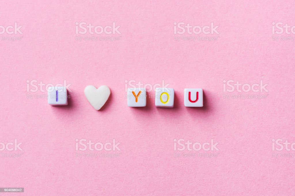 Phrase I Love You Made from Letter Cubes and Single Heart Shape White...