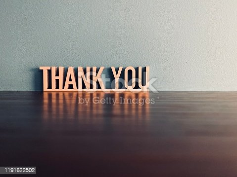THANK YOU phrase on blue background