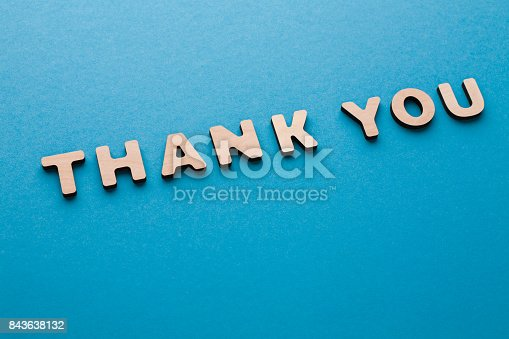 513601840 istock photo Phrase Thank You on blue background 843638132