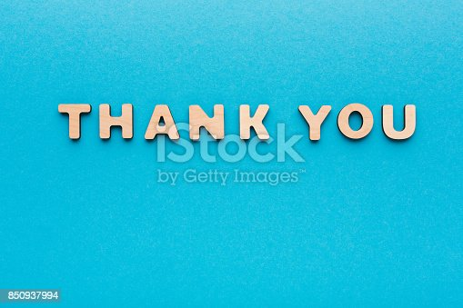 istock Phrase Thank You on blue background 850937994