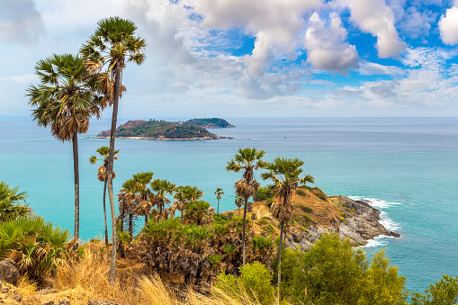Phromthep Cape at Phuket in Thailand in a summer day