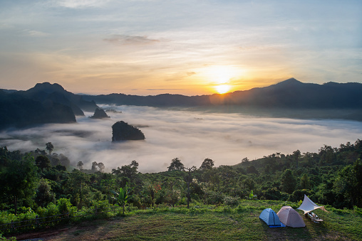 Phu Langka mountain National Park and Tent camping in forest Payao Province thailand.