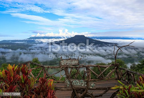 Phu Pa Por viewpoint. Famous tourist Attraction at Loei, Similar Mt.Fuji. on sign board wrote as  Phu Pa Poh in Thai