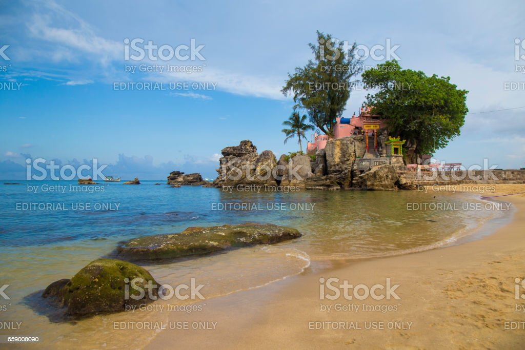 Phu Quoc island in a corner of a sunny day, far from the nose Dinh Cau temple, a famous religious view point on the island. royalty-free stock photo