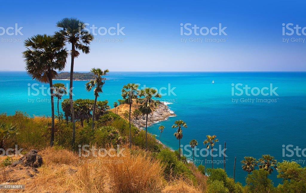 Phuket Island, Promthep Cape, Tourist attraction in Thailand. stock photo