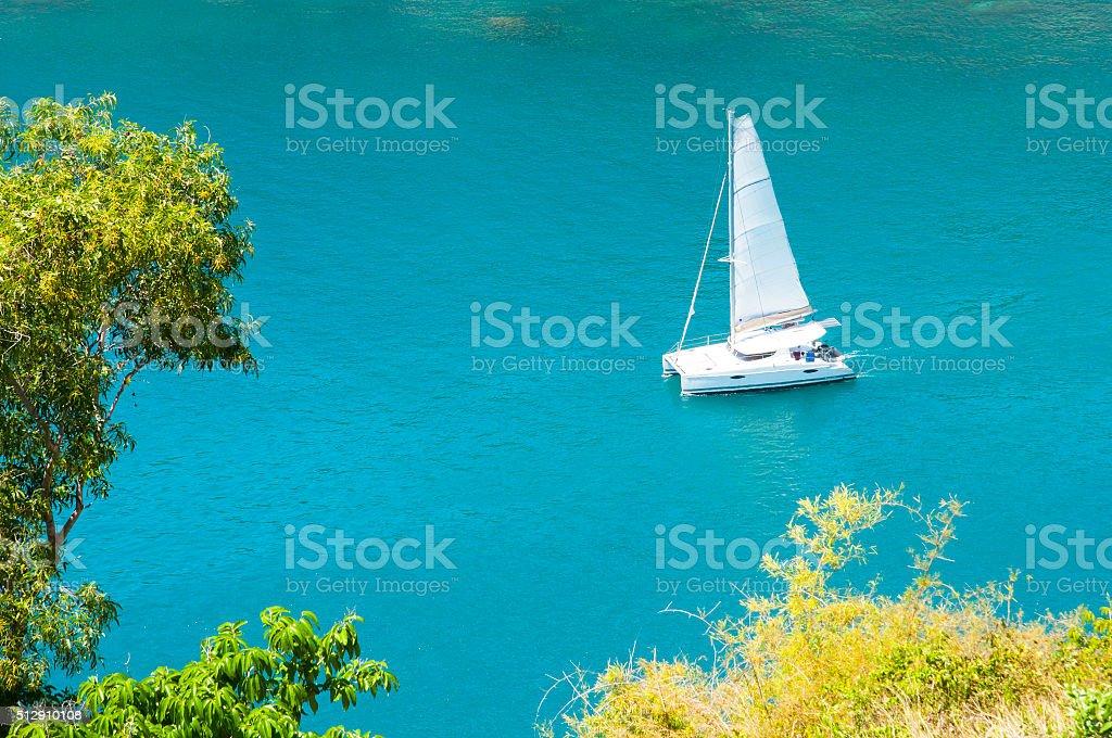 Phuket island, Thailand. Andaman Sea landscape with luxury yacht stock photo