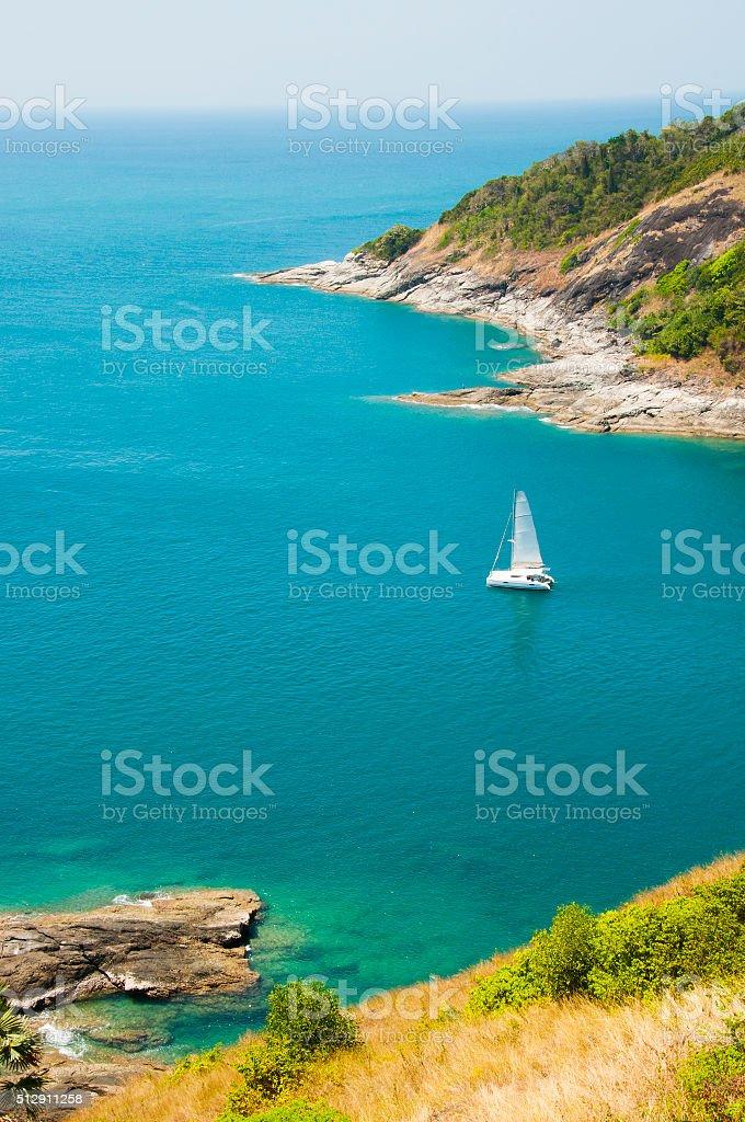 Phuket island, Thailand. Andaman Sea landscape with rocks and ya stock photo
