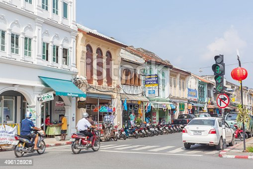 istock Phuket old town building Chino Portuguese Style 496128928