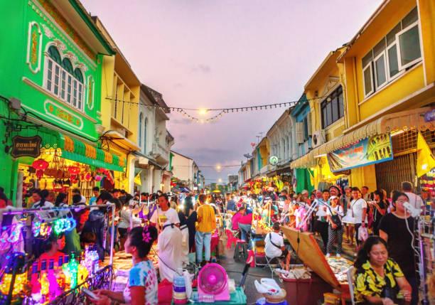 ( Lard Yai ) Phuket Walking Street night market in Phuket old town, Thailand. stock photo