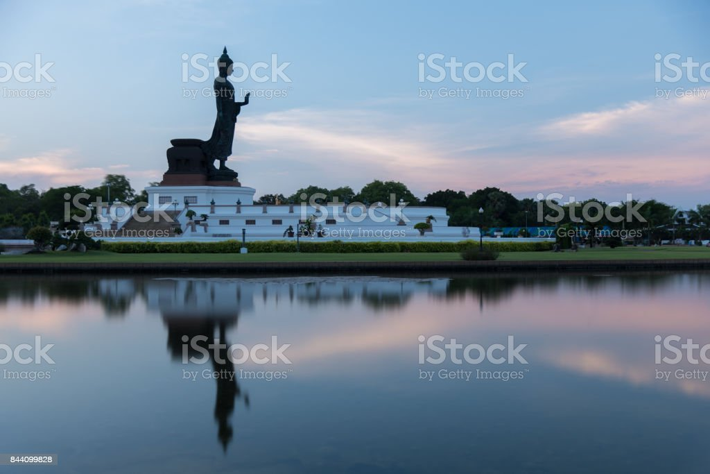 Phutthamonthon is place for Buddhist Dharma with blue sky and sunset. stock photo
