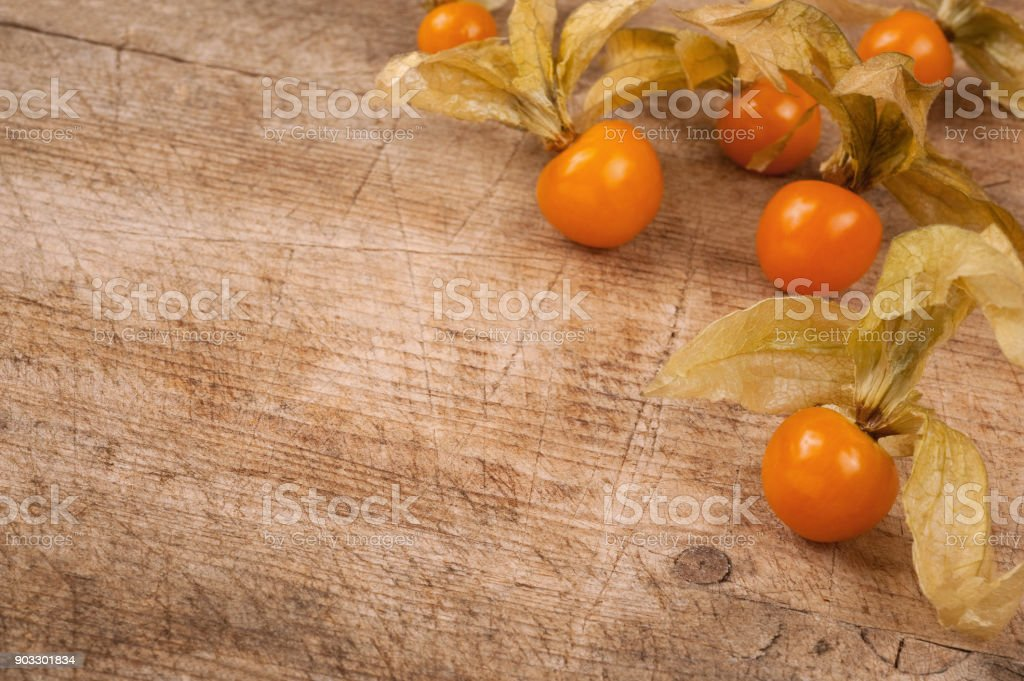phycalis over wooden background stock photo