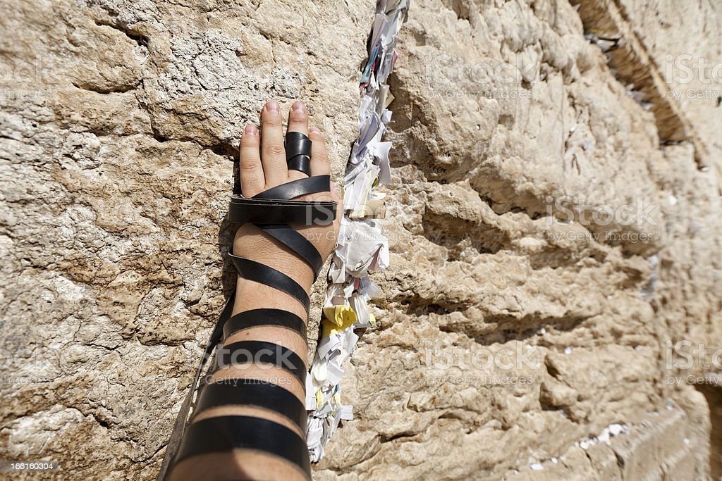 Phylacteries Wrapped Hand on the Western Wall royalty-free stock photo