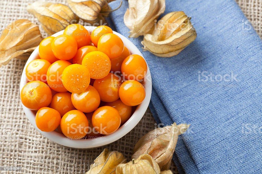 Physalis Fruit in Bowl stock photo