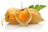 Physalis fruit or golden berry with leaf isolated on white background