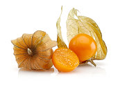Physalis fruit or winter cherry isolated on white background