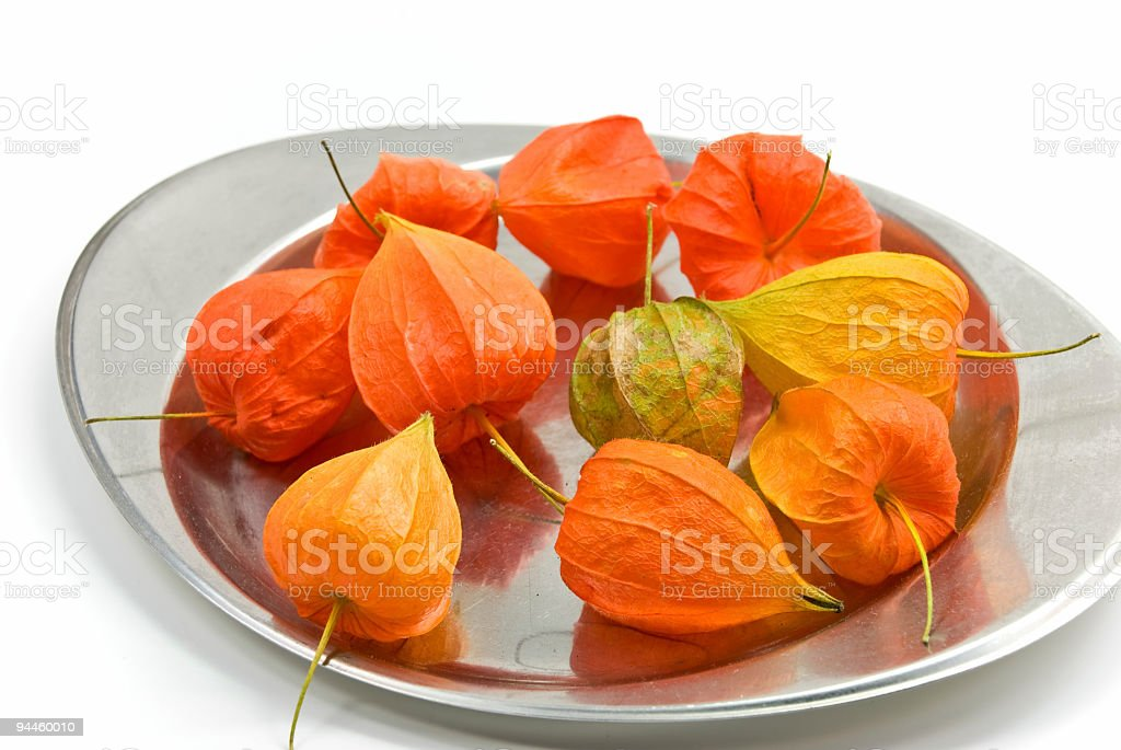 physalis in the plate royalty-free stock photo