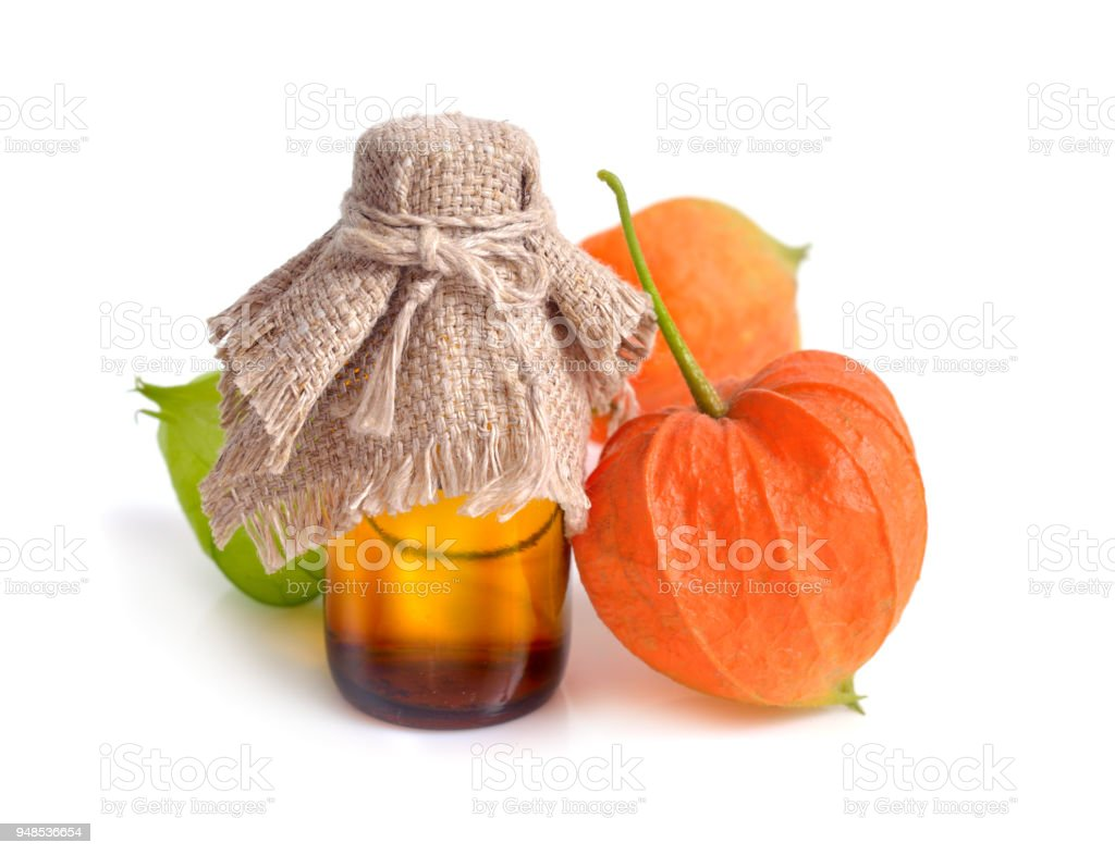 Physalis. Other names poha berries, simply golden berries stock photo