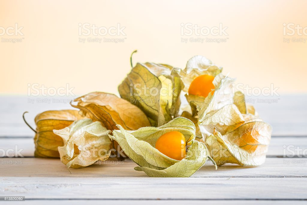 Physalis peruviana berries on a table stock photo