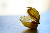 Physalis peruviana, Cape gooseberry, goldenberry on a wooden table