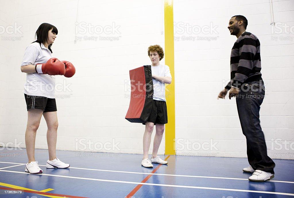 physcial education:  kick-boxing class stock photo