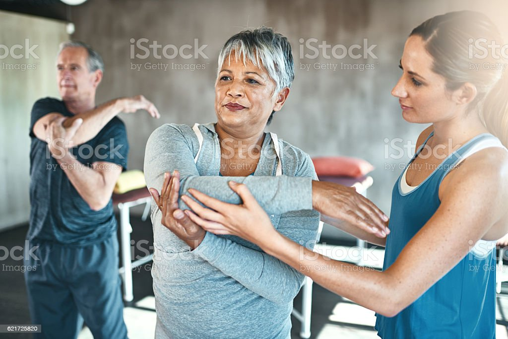 Physical activity helps improve overall muscle health stock photo
