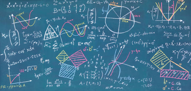 Physical and mathematical sciences for the engineer drawing on the chalkboard stock photo