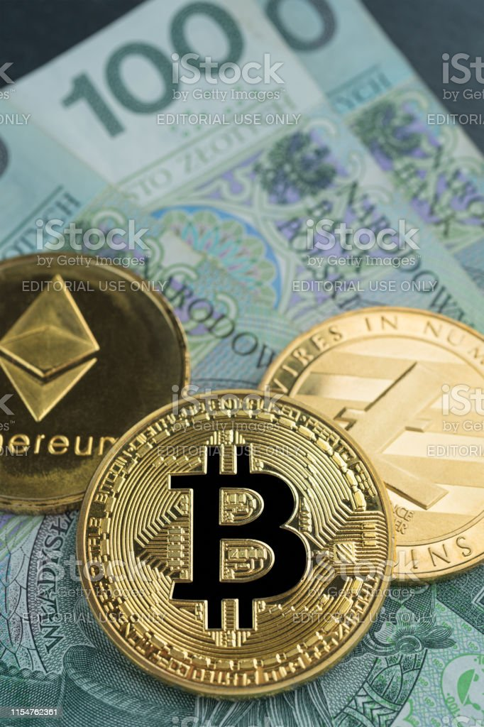 Physical Bitcoin Litecoin And Ethereum Gold Coins With