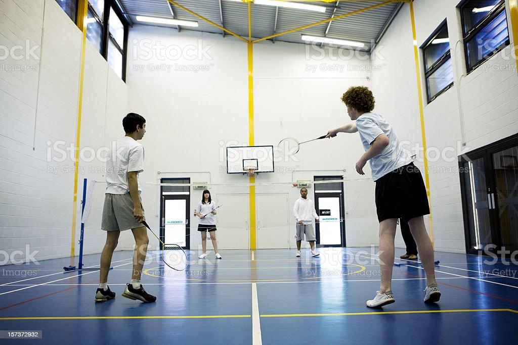 physical education: badminton stock photo