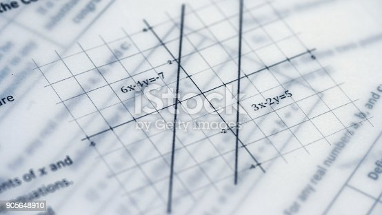 909927050 istock photo Physical Formulas, Graphics And Scientific Calculations On Document 905648910