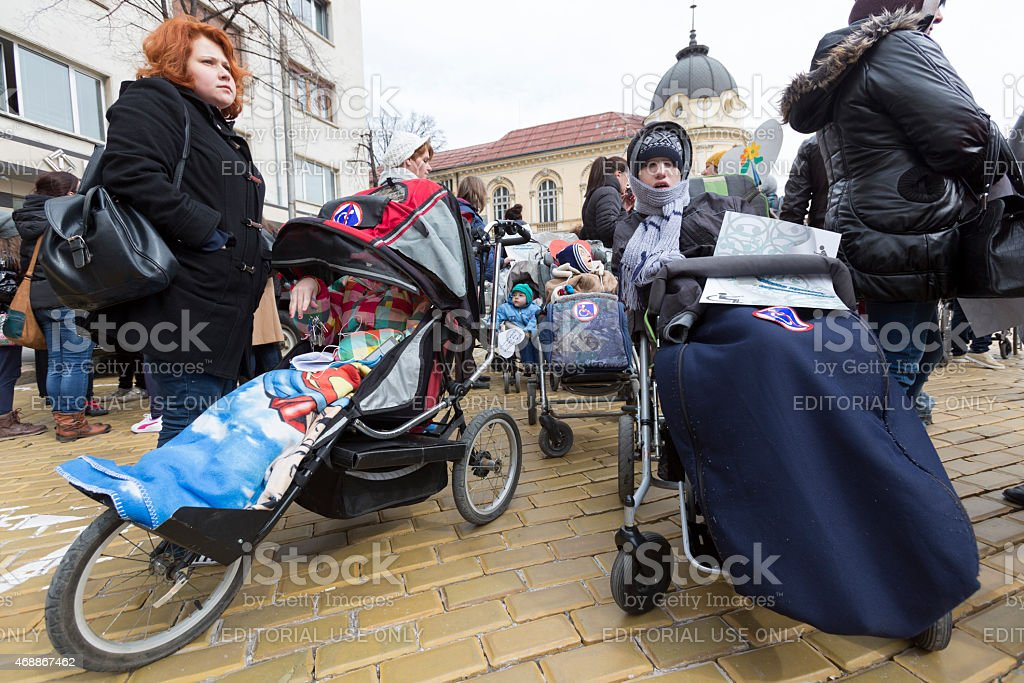 Physical Impairment (Disabled) people protest stock photo