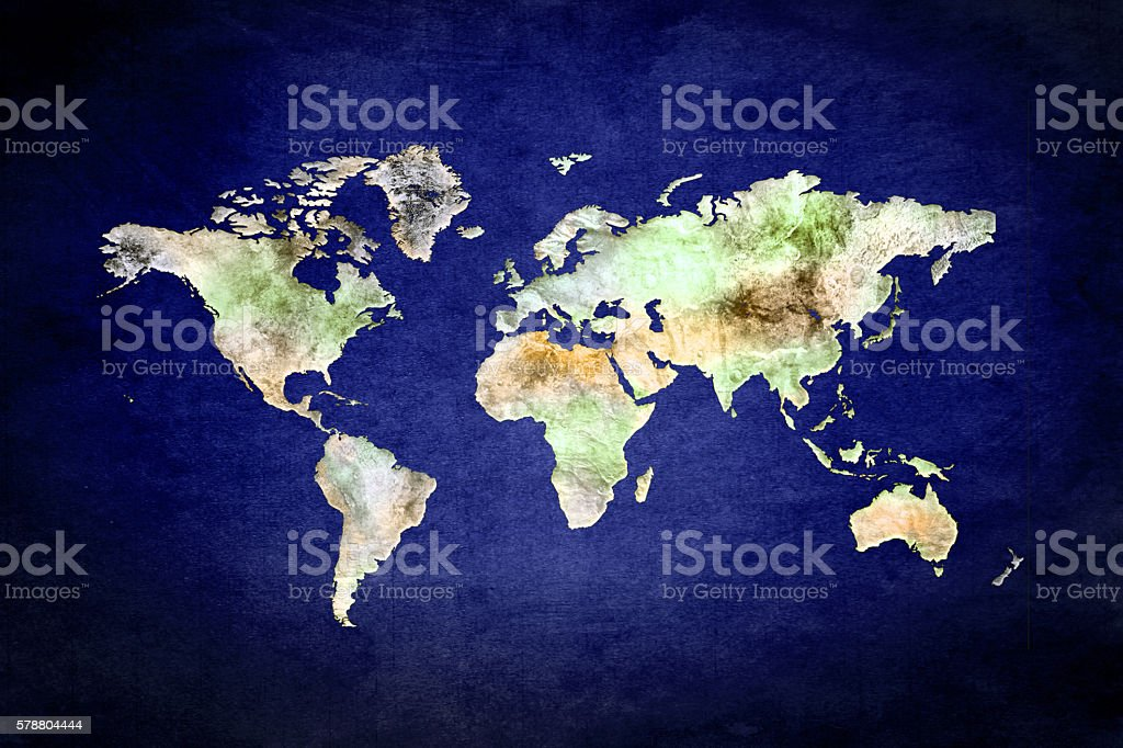 Physical map of the World on Blue background stock photo