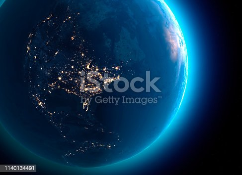 istock Physical map of the world, satellite view of north America and Canada. Globe. Hemisphere. Night view, city lights 1140134491