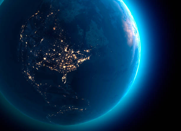 Physical map of the world, satellite view of north America and Canada. Globe. Hemisphere. Night view, city lights stock photo