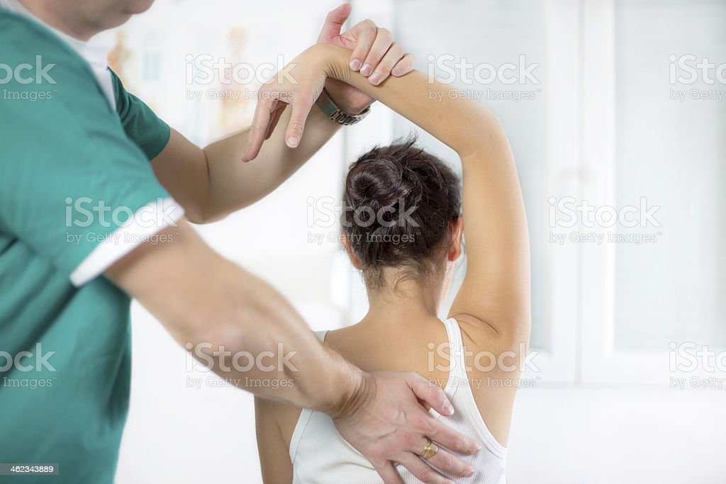 Physical Therapist Series: shoulder mobility stock photo