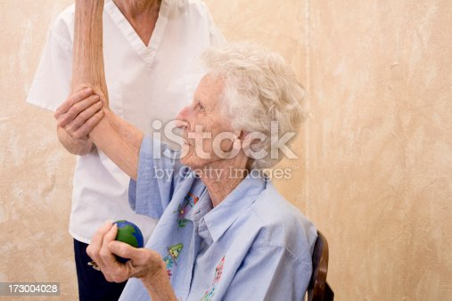 istock Physical Therapy for senior adult woman. Arm. Nursing home. 173004028