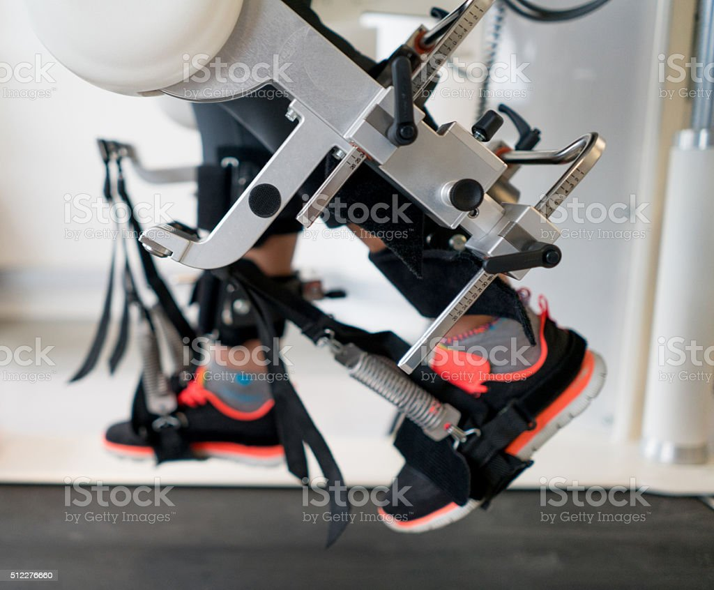 Physical therapy on a machine stock photo