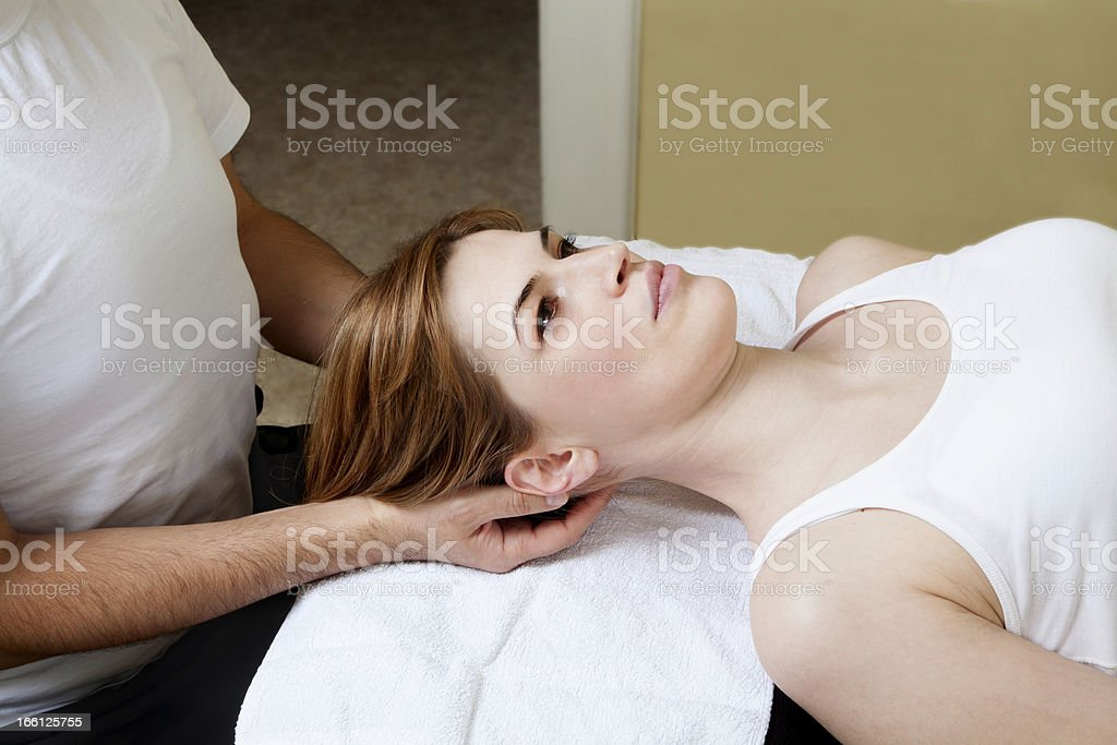 Physical Therapy on Neck stock photo